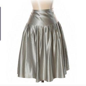 Express Silk Silver A-line Skirt